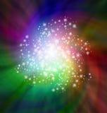 Sparkles de espiralamento que giram no fundo colorido obscuridade Imagem de Stock Royalty Free