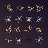 Sparkles, glowing light effect stars and bursts. Bright firework. Decoration twinkle, shiny flash Royalty Free Stock Images