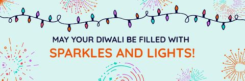 Sparkles and Lights Diwali, wide. Digital composite of Sparkles and Lights Diwali, wide Royalty Free Stock Photography