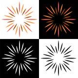 Sparkles os logotipos coloridos do sunburst do starburst ilustração do vetor