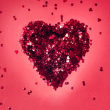 Sparkles, shine, sparkle, red hart  for holidays, Valentine`s Day. Royalty Free Stock Photos