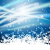 Sparkles on snowflakes winter background Stock Images