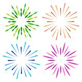 Sparkles starburst sunburst colorful logo. Vector illustration of colorful sparkles starburst sunburst logos on white background Stock Images