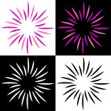Sparkles starburst sunburst colorful logos. Vector illustration of colorful sparkles starburst sunburst logos on white background Royalty Free Stock Photography