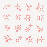 Sparkles, starbursts and fireworks. linear icons on white background Stock Photo