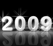 Sparkling 2009. A 3D illsutation of the text 2009 in sparkling metallic finish on black background with reflection Stock Image