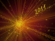 Sparkling 2011. Sparkling illuminated text on red background stock illustration