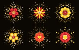 Sparkling abstract flowers Royalty Free Stock Images