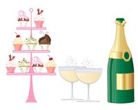 Sparkling afternoon tea with champagne and cakes. An illustration of a sparkling champagne afternoon tea with facy cake stand and bottle on a white background Royalty Free Stock Photo