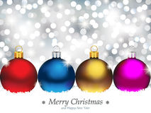 Sparkling Background with Christmas Ornaments Stock Photos