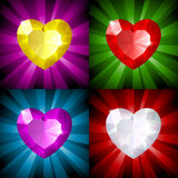 Sparkling background with jewel heart. In four colors. This image is a vector illustration and can be scaled to any size without loss of resolution Stock Images