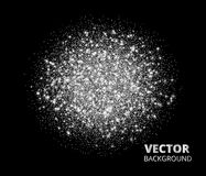 Festive silver sparkle background, glitter circle. Vector dust, diamonds, snow on black. Sparkling background, silver glitter explosion. Vector dust, diamonds Royalty Free Stock Photos
