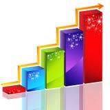 Sparkling Bar Chart. An image of a sparkling 3d bar chart with arrow Stock Photos