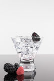 Sparkling beverage in a martini glass with berries Stock Photos