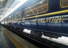 Sparkling blue and gold of SRT Prestige at Hualumphong Main Railway Station Thailand Royalty Free Stock Photos