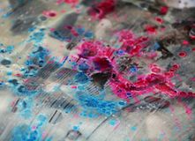 Silver blue pink icy dark blurred watercolor background, waxy abstract texture Stock Images