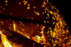 Sparkling bokeh from fire. Sparkling bokeh from a fire at night Royalty Free Stock Images