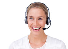 Sparkling busineswoman talking on a headset Royalty Free Stock Photography