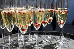 Sparkling champagne flutes on tray with pomegranate seeds. Sparkling champagne flutes on tray with pomegranate seeds stock image