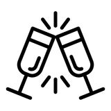 Sparkling champagne glasses line icon. Two clinking glasses vector illustration isolated on white. Toast outline style. Design, designed for web and app. Eps 10 Vector Illustration