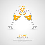 Sparkling champagne glasses. Minimalistic concept. Sparkling champagne glasses. Vector illustration. Minimalistic concept with line style glass and sparkling Royalty Free Stock Image
