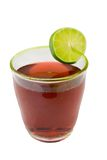 Sparkling cherry beverage. With lime on white Royalty Free Stock Image
