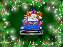 Sparkling Christmas Background. An illustrated Christmas background of a Santa arriving in a car, on a sparkling green design Stock Images