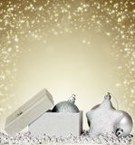 Sparkling Christmas background with opened gift box Royalty Free Stock Photography