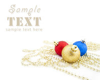 Free Sparkling Christmas Balls And Golden Beads Royalty Free Stock Photography - 11973797