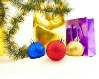 Sparkling Christmas balls and golden beads Royalty Free Stock Image