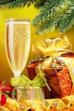 Sparkling Christmas Champagne Stock Photography