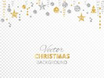 Sparkling Christmas glitter ornaments. Gold and silver fiesta border. Garland with hanging balls and ribbons  on. Sparkling Christmas glitter ornaments  on Royalty Free Stock Image