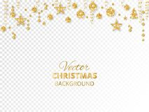 Sparkling Christmas glitter ornaments. Golden fiesta border.. Sparkling Christmas glitter ornaments isolated on transparent background. Golden fiesta border Royalty Free Stock Image