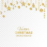 Sparkling Christmas glitter ornaments. Golden fiesta border. Festive garland with hanging balls and ribbons isolated on. Sparkling Christmas glitter ornaments Royalty Free Stock Photography