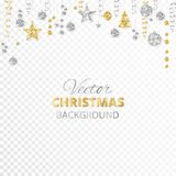 Sparkling Christmas glitter ornaments. Gold and silver fiesta border. Garland with hanging balls and ribbons  on. Sparkling Christmas glitter ornaments  on Royalty Free Stock Photo