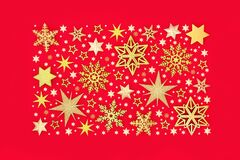 Sparkling Christmas Gold Star and Snowflake Background