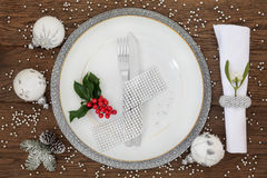 Sparkling Christmas Place Setting Stock Photography