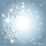 Sparkling Christmas Star Snowflake Background Stock Photo