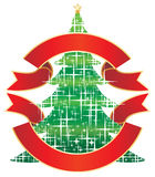 Sparkling Christmas tree. Christmas tree with banner,  illustration Royalty Free Stock Photo