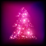 Sparkling Christmas tree made of lights vector. Card eps 10 Stock Photography