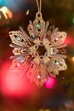 Sparkling Christmas Tree Ornament with Bokeh royalty free stock photography