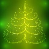Sparkling Christmas tree with stars on decorative green. Sparkling Christmas tree with stars on decorative green background. Vector illustration Stock Photos
