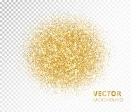 Sparkling circle, golden glitter explosion. Vector dust on transparent background. Great for valentine, christmas and birthday cards, wedding invitations Royalty Free Stock Images