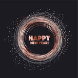 Sparkling circle vector illustration. new year abstract backgrou. Nd for card, header, poster, invitation. rose gold star on black night color Royalty Free Stock Photography