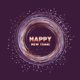 Sparkling circle vector illustration. Rose gold star on violet night color. sparkling circle vector illustration. new year abstract background for card, header Stock Photos