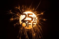 Sparkling circular 25 percent off sign Royalty Free Stock Photo