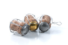 Sparkling cork. Sparkling bottle cork set of three on white background stock images