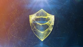 Sparkling Crystal Shield Symbol in Cyberspace. A luxury 3d illustration of a golden crystal Shield in a tooth shape placed in the center of an orange and blue Stock Photo