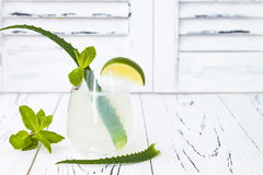 Sparkling cucumber mint gin and tonic fizz with aloe vera on rustic table. Copy space. Dragon tail cocktail for fans party. Royalty Free Stock Photo