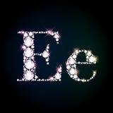 Sparkling diamond gemstone letter E Royalty Free Stock Images